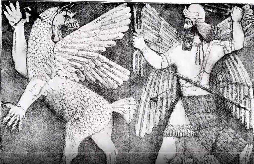 бог Мардук побеждава змея Тиамат