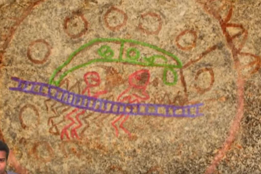 скална рисунка в древна Индия,показва космически кораб и пътници в него
