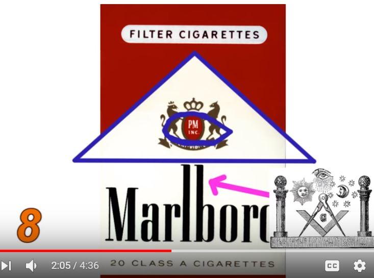 масонски символ скрит в емблемата на Marlboro