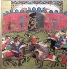 Александър Македонски се бори с кинокефалите- индийска миниатюра