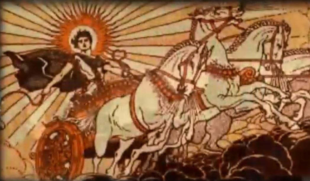богът на Слънцето кара колесница