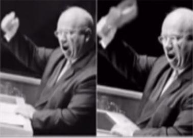 Хрушчов с обувка в ръка в залата на ООН