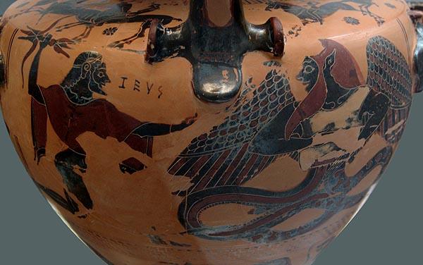 Зевс (известен още като Ваал) побеждава Тифон (Lathan)