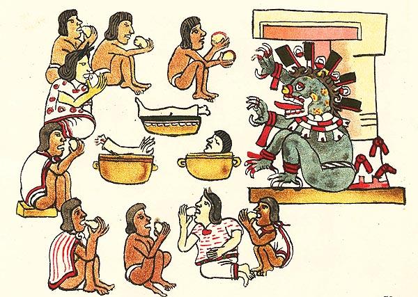 Сцена на ритуалния канибализъм на ацтеките Кодекса Mallabekano