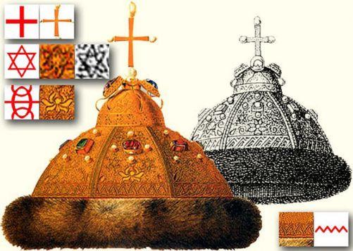 Звезда на Велес. Шапката на Мономах (13 век, Русия). Символът на сватбата на руските крале с властта