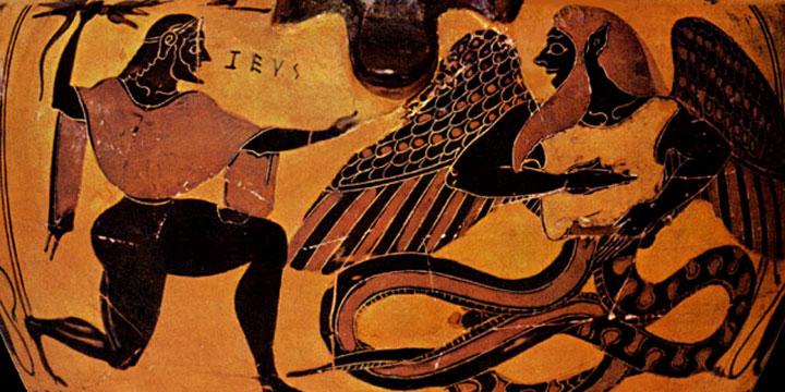 тифон върху гръцка антична ваза