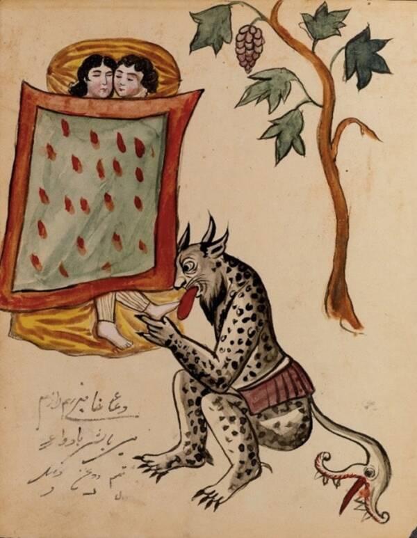 Демон е нарисуван да облизва крака на дремещ човек. Изображението предизвиква разбирането за парализа на съня, което през Средновековието. се разглежда в различни култури като дело на демони и зли духове