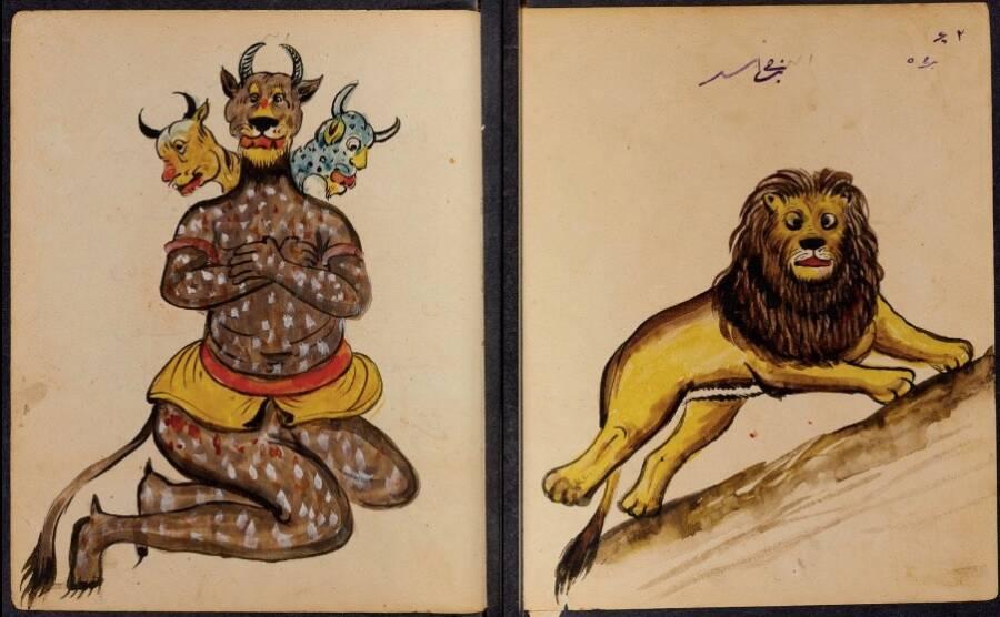 """Лъвът и неговият демон. Изображенията на демони се простират от древността на равините от вавилонския Талмуд, които твърдят, че това е благословия, демоните са невидими, защото """"ако окото получи разрешение да види, никое същество няма да може да застане в лицето на демоните които го заобикалят."""