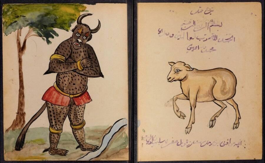 Тези демонични изображения са взети от по-ранен ръкопис, който вероятно е бил използван от гадател за гадаене. Тук демон е нарисуван рамо до рамо със съответната му зодия Овен.