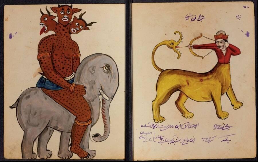 На по-гротескните страници се показват демони, които извършват по-неприлични дейности като издърпване на зъби и изваждане на очите