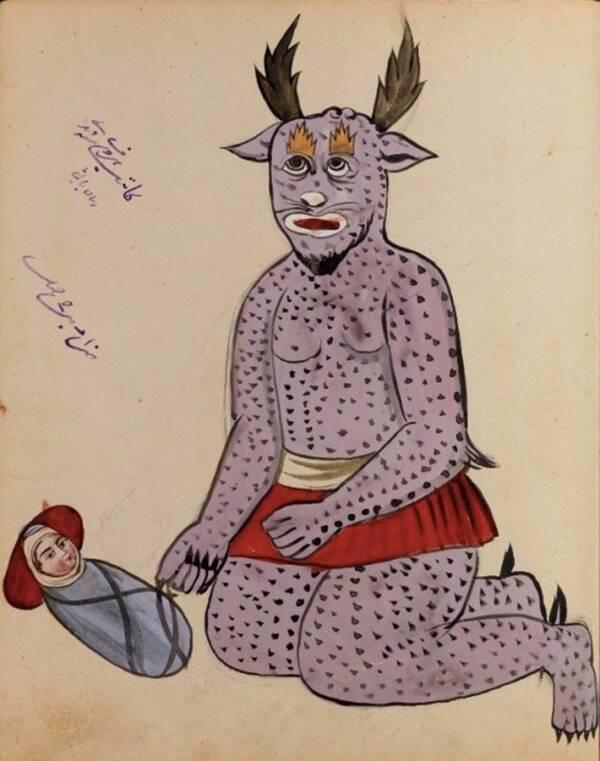 Демон с лилаво и черно петно с човешко бебе. Както се вижда от ръкописа, заклинанията и други заклинания за отблъскване на злото се запазват и в съвременния период.