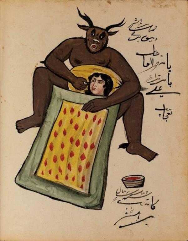 Изобразяването на демони в Близкия изток е преди Исляма. Тези рисунки и писания често се използват за магически и талисмански цели като защита от демонични същества.