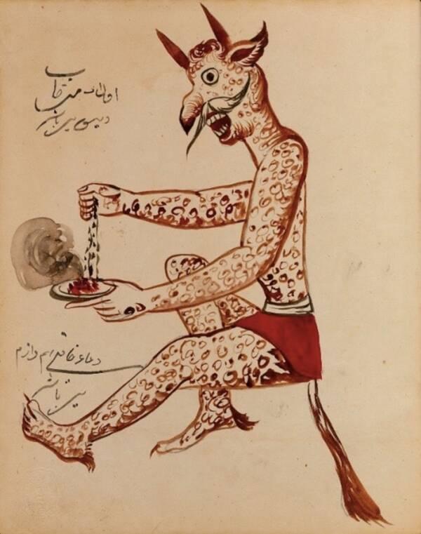Пъстър демон с рога и бели мустаци, събиращ нещо, което прилича на вода или зърна. Много от демоните в книгата са изобразени, докато ядат и се подиграват на хората.