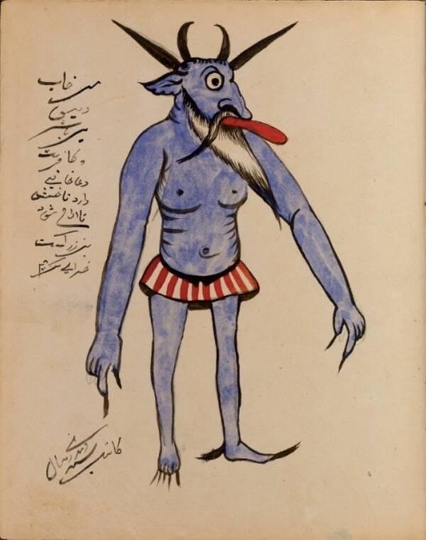 Демон в син цвят с изплезен език и придружаващо описание, написано на арабски.