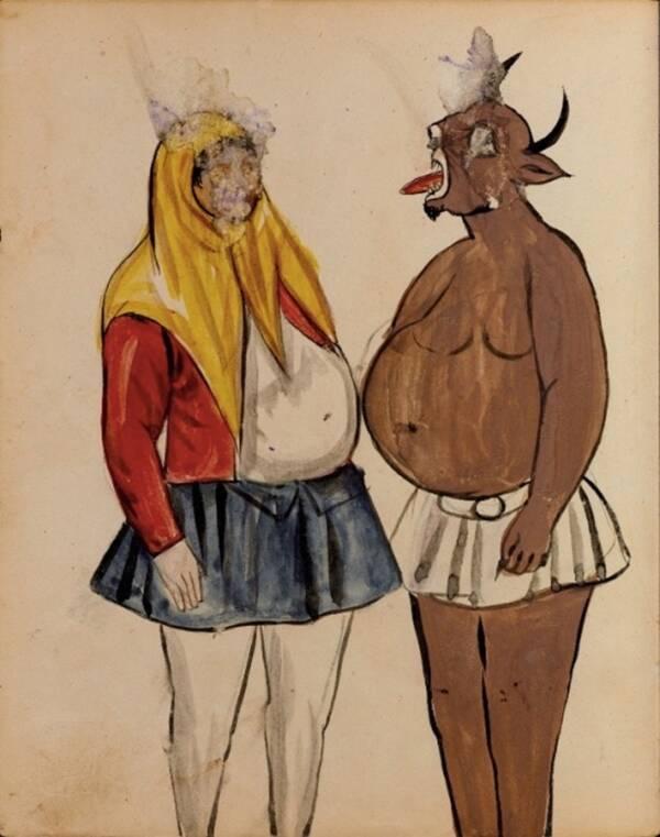 Демон с рог в кафяв цвят, показан, който държи езика си на нещо, което прилича на жена, носеща шал за глава или хиджаб