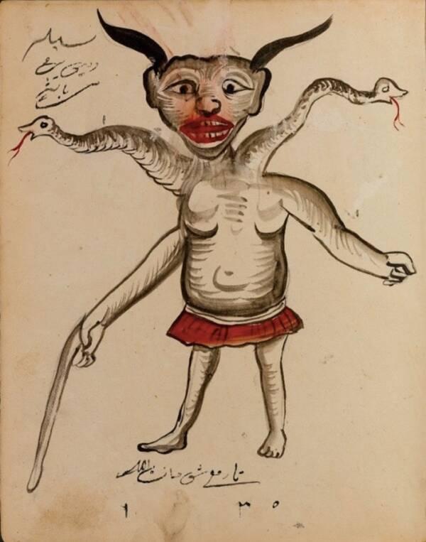 Роган демон с две ръце и още две змийски крайници, поникнали от врата му. Хибридни изображения на демони се срещат и в европейски текстове като Compendium of Demonology and Magic от 18-ти век.